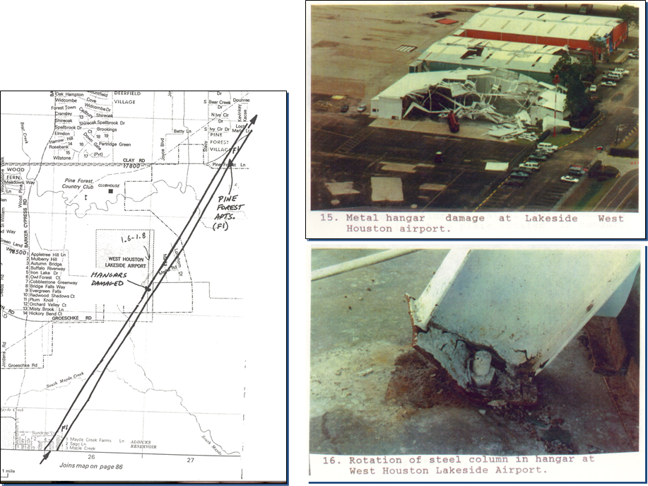 Photos of damage and a portion of the analyzed tornado track from the 1992 West Houston tornado. (NWS Houston/Lance Wood)
