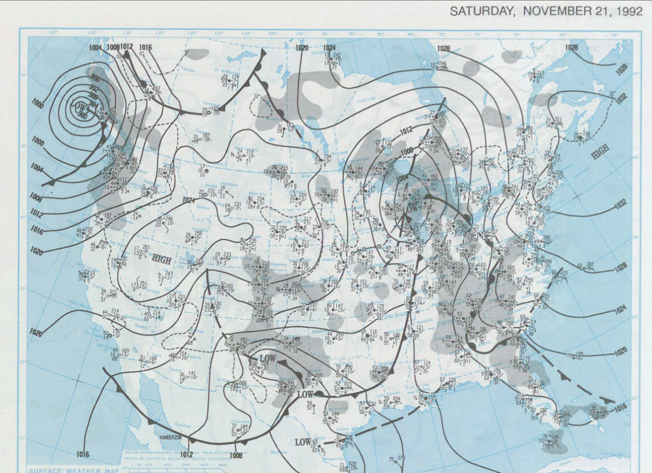 U.S. Daily Weather Map for the morning of November 21, 1992. (NOAA)