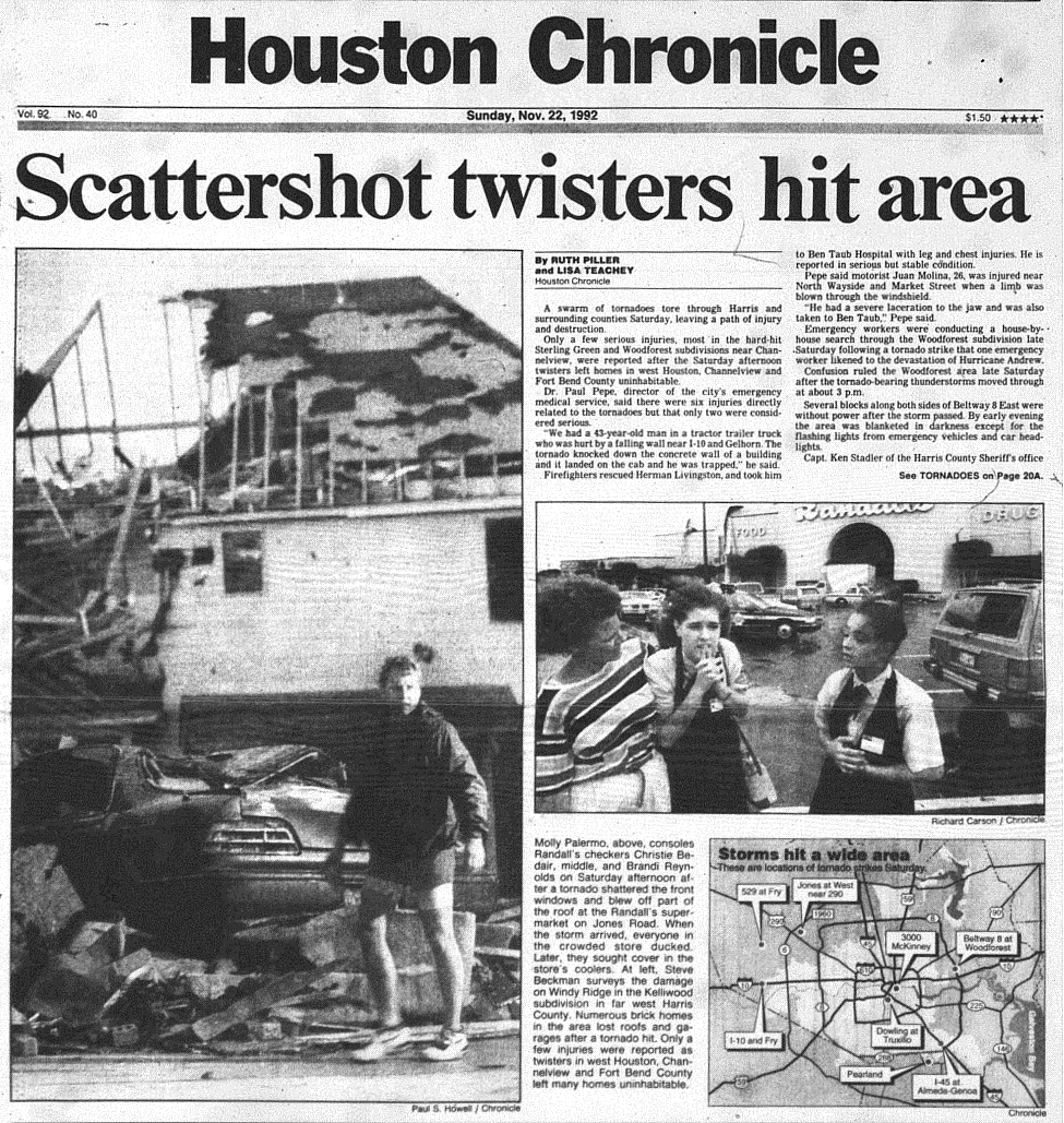 Front page of Houston Chronicle after the tornado outbreak. (Rice Fondren Library/Houston Chronicle)