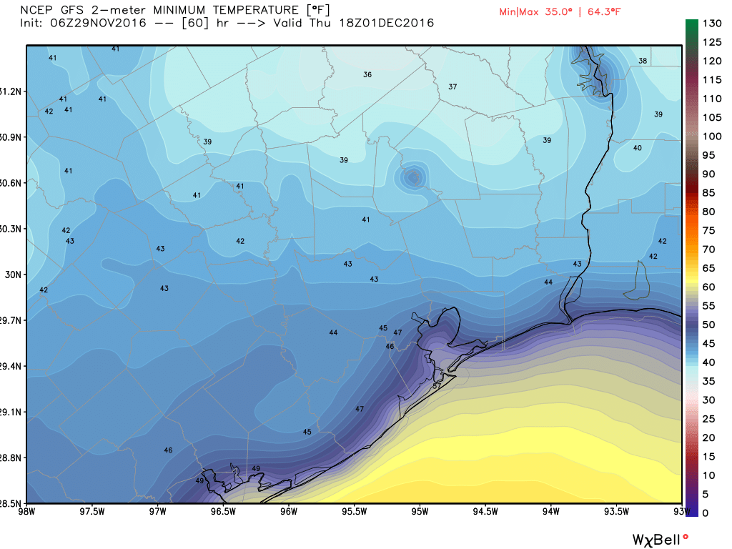 Thursday morning should dawn nice and chilly across the Houston area. (Weather Bell)