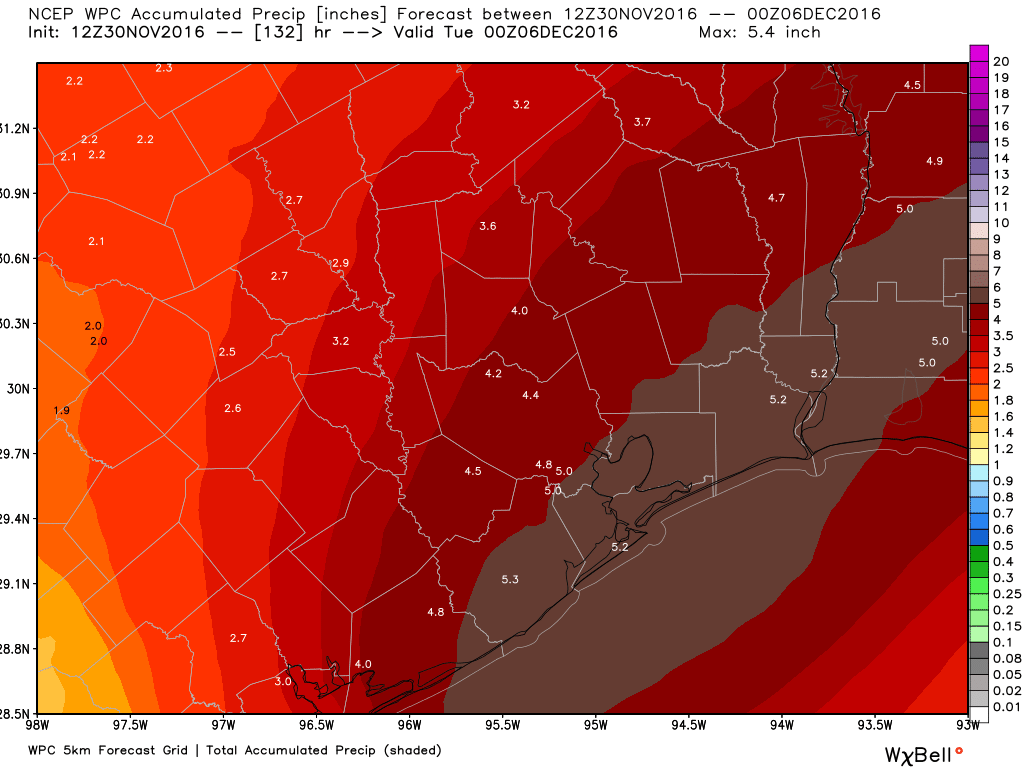 This rainfall accumulation forecast from NOAA seems a little too aggressive for me. (Weather Bell)