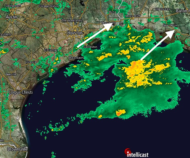 As of 2:45pm CT on Friday the rains are remaining largely offshore. But that will change. (Intellicast)