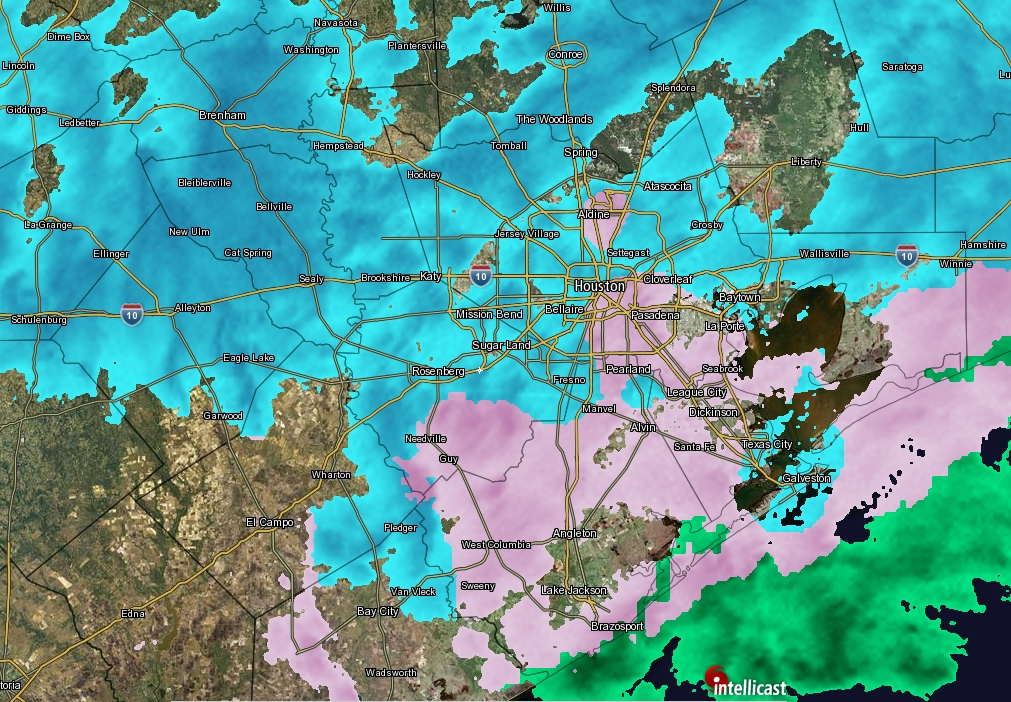 Sleet, freezing rain, and snow falling over Houston—what's