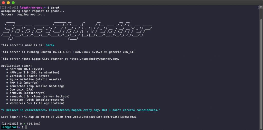 Screenshot of a login banner for a linux server