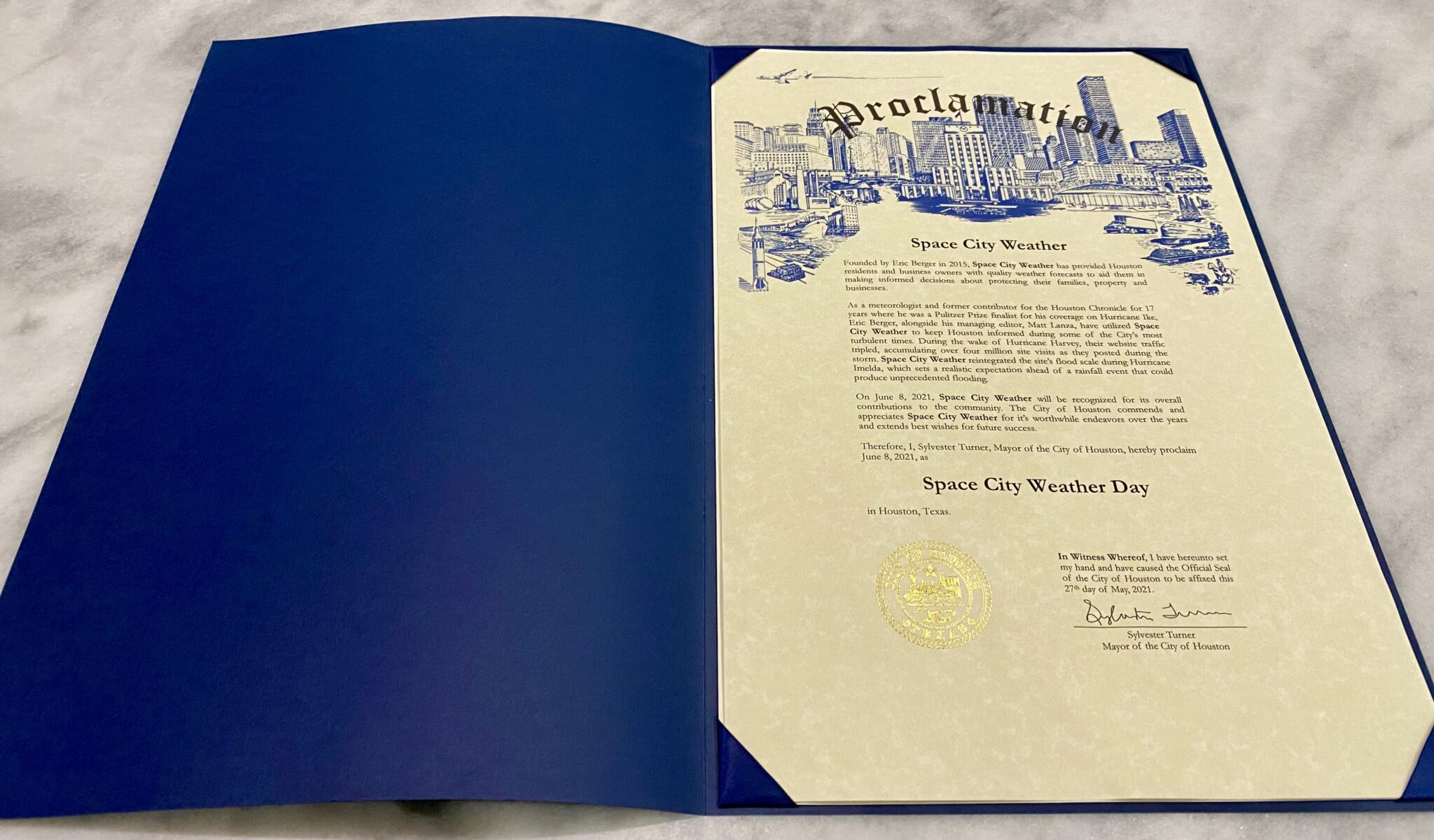 Today is Space City Weather Day in Houston. Yes, really.